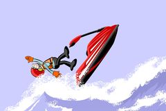 Man jumping with a jet ski on the sea Royalty Free Stock Photography