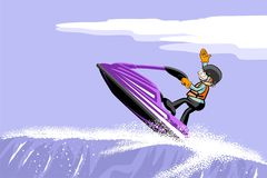 Man jumping with a jet ski on the sea Royalty Free Stock Photo
