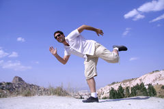 Man jumping in joy Royalty Free Stock Photos