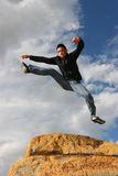 Man jumping of joy stock photo