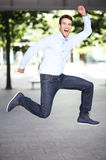 Man jumping with joy Stock Photography