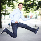 Man jumping with joy Stock Image