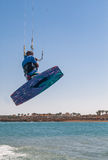 Man jumping on a kiteboard.  Royalty Free Stock Photos