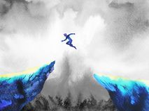 Free Man Jumping Leap Over To Success Power, Abstract Stock Photography - 102468422