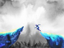 Free Man Jumping Leap Over To Success Power, Abstract World Universe Inside Your Mind Stock Photography - 102468602
