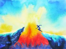 Man jumping leap over to success power, abstract world universe inside your mind. Watercolor painting art hand drawn stock illustration