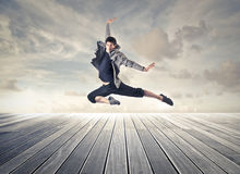 Man jumping like a dancer Royalty Free Stock Photos