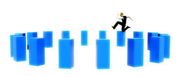 Man jumping obstacles. Ring of large blocks with man leaping Stock Photos