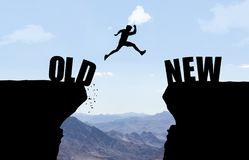 Man jumping over abyss with text OLD/NEW. vector illustration
