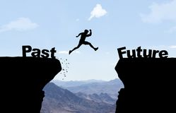 Man jumping over abyss with text Past/Future. vector illustration