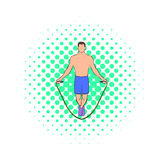 Man jumping with skipping rope icon, comics style Royalty Free Stock Photography