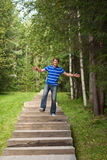 Man is jumping stairs Royalty Free Stock Image