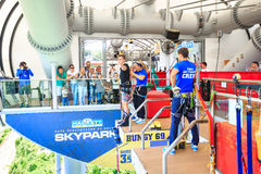 The man is jumping swallow type from 69 metres height, freestyle-bungy. Sochi, Russia - MAY 22, 2016: The man is jumping swallow type from 69 metres height in Royalty Free Stock Photography