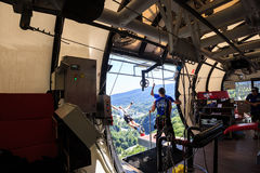 The man is jumping swallow type from 207 metres height, freestyle-bungy Royalty Free Stock Images