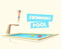 Man jumping. Swimming pool with a diving board. Cartoon Vector illustration Stock Image