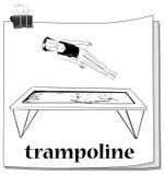 Man jumping on trampoline stock illustration