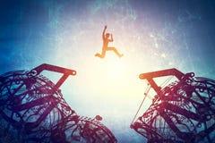 Man jumping between two gear mechanisms. Concept of challenge, technological breakthrough. 3d illustration vector illustration