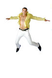 The man jumping on a white background Royalty Free Stock Image