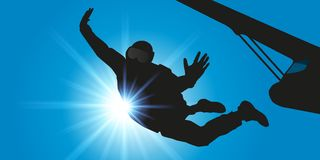 A man jumps from a parachute plane stock illustration