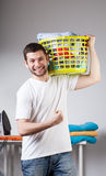 Man just has done his laundry Royalty Free Stock Photography