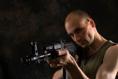 Man with the Kalashnikov gun stock photography