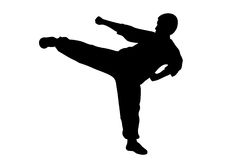 Man karate kicking Royalty Free Stock Images