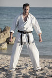 Man in a karate uniform Stock Images