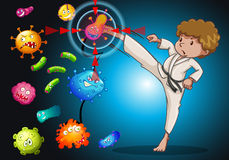 Man in karate uniform kicking bacteria Stock Image