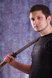 Man and katana Royalty Free Stock Photo