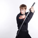 Man with Katana in hand Stock Images