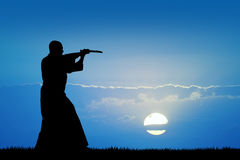 Man with katana. Illustration of man with katana at sunset Royalty Free Stock Photos