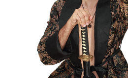 Man with katana in kimono Royalty Free Stock Photos
