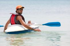 Man in a kayak Stock Photography