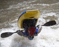 Man in kayak. Freestyle competition royalty free stock images