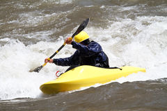 Man in kayak. Freestyle competition Royalty Free Stock Image