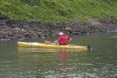 Man in Kayak. Man rowing a kayak along the Willamette River in Portland, Oregon Stock Photos