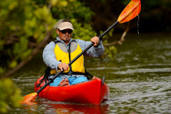 Man in kayak in florida Royalty Free Stock Photo