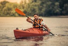 Man and kayak Royalty Free Stock Photo