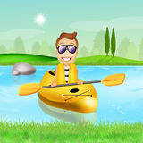 Man with a kayak Stock Images