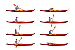Man in kayak set 01. Illustration of man in kayak set in different poses isolated on white background stock illustration