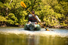 Man kayaking Stock Photos