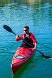 Man kayaking on the lake sunset02 Stock Photo