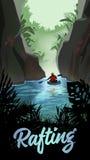 Man Kayaking On Mountain River Royalty Free Stock Photography