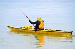 Man Kayaking in Ocean Royalty Free Stock Photos