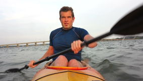 Man kayaking stock video footage