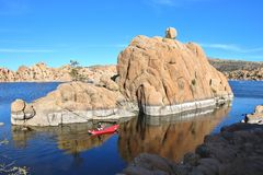 Man  Kayaking at Watson Lake Royalty Free Stock Photos