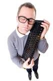 Man keep computer keyboard. Geeky man keep computer keyboard stock illustration