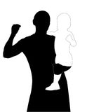 Man keep on hand a baby (silhouette) Royalty Free Stock Photo