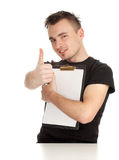 Man keeping blank clipboard, thumb up Royalty Free Stock Photos