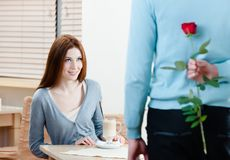 Man keeps crimson rose behind his back Stock Photos